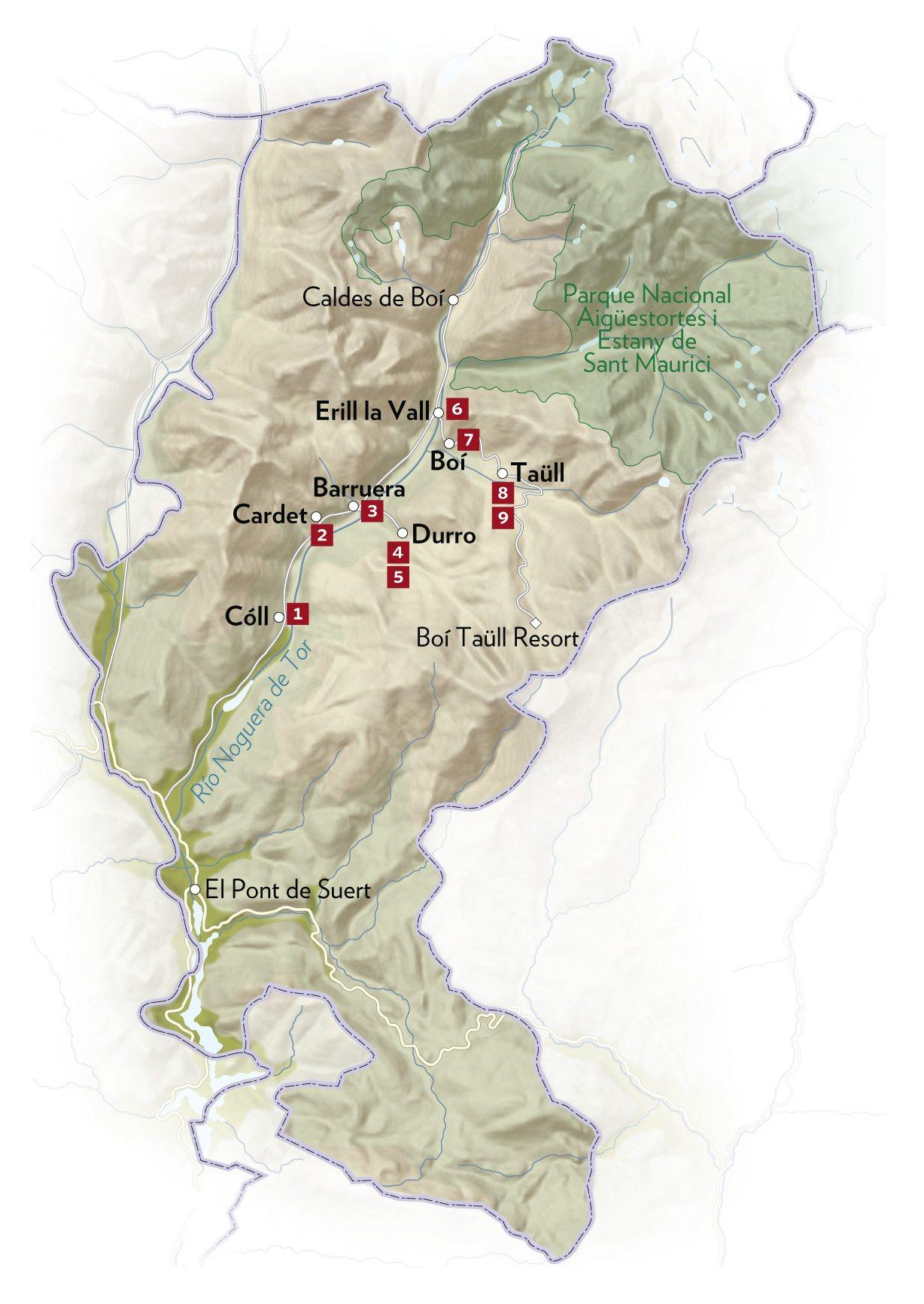 Caldes De Boi Mapa.Arte Y Naturaleza En El Pirineo Leridano