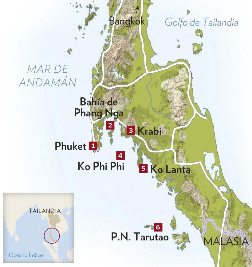 Islas De Tailandia Mapa.La Costa Y Las Islas Del Mar De Andaman