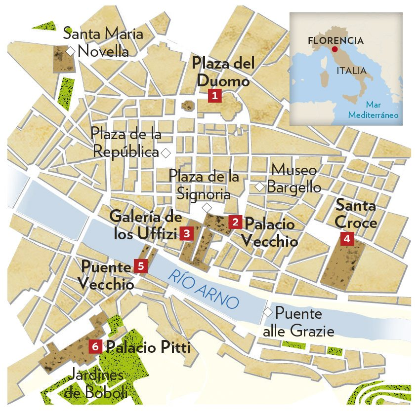 Mapa Turistico De Florencia.Recorrido Por Florencia
