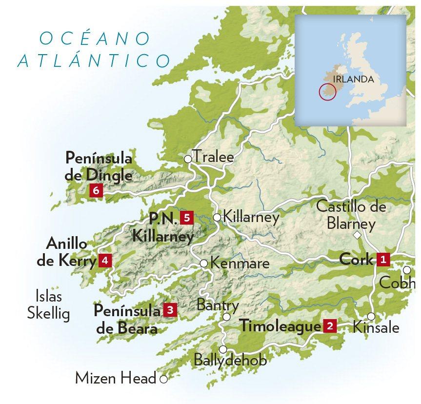 Anillo De Kerry Mapa.Irlanda La Isla Esmeralda