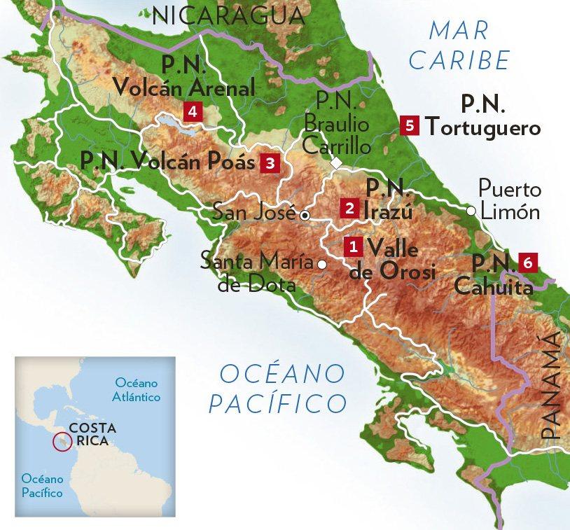 Mapa De Costa Rica Playas.Entre Volcanes Y Playas