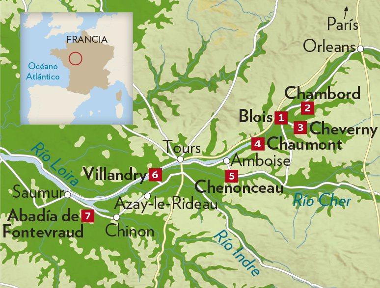 Castillos Del Loira Mapa.Valle Del Loira