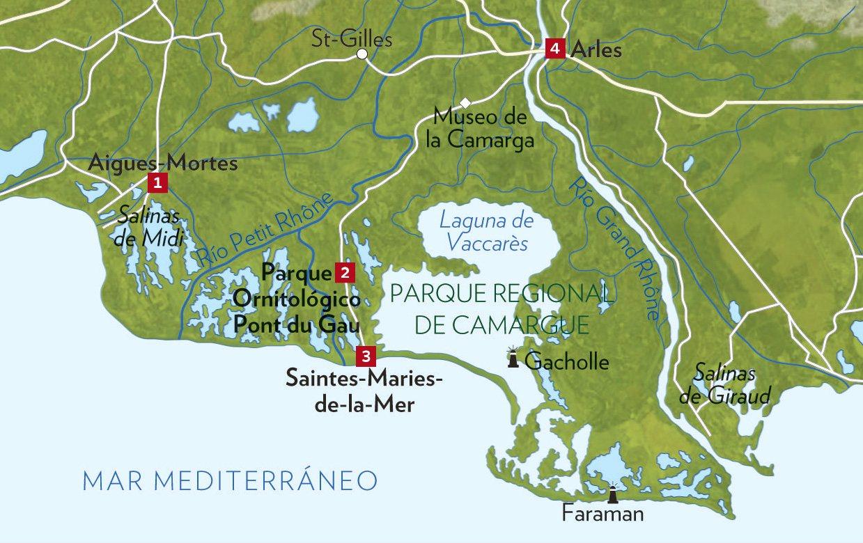 La Camarga Francesa Mapa.La Camarga Francesa