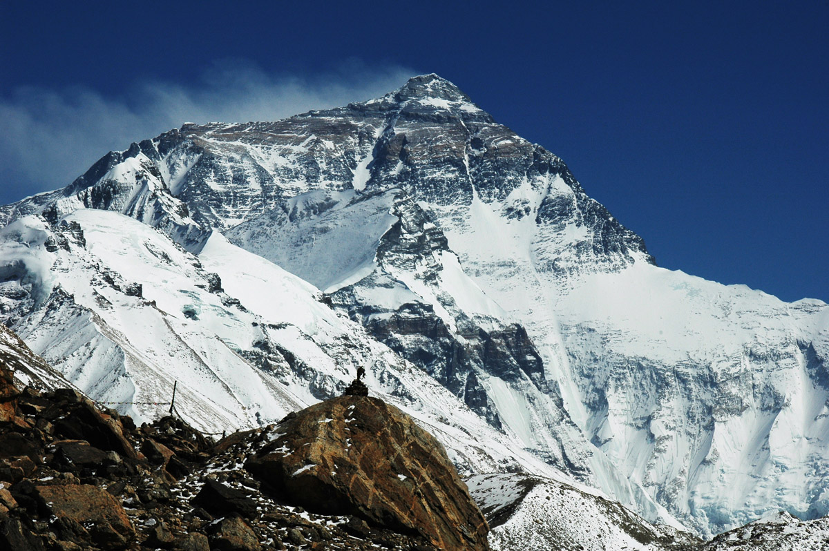 Hilary step Everest. El monte Everest, Nepal