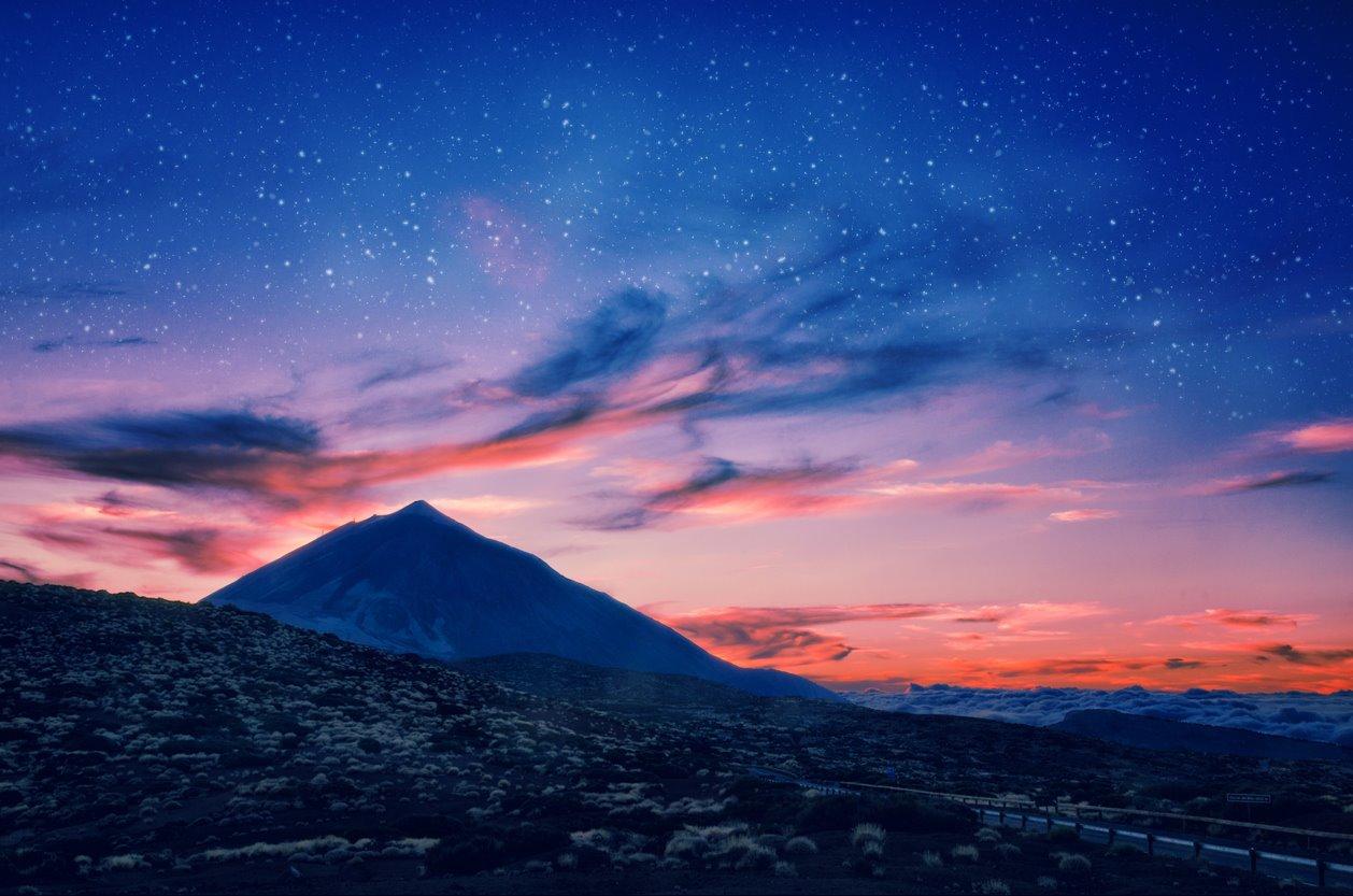 Teide Noche . Estrellas y fondos sin secretos