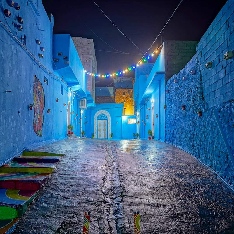Renovated blue alley - photography by Mohammed Abdulhaq