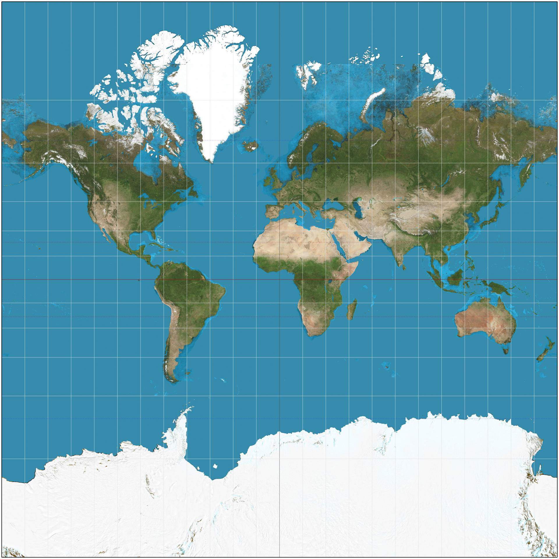 Mercator projection Square 0